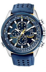Citizen Blue Angels World Chronograph A-T All Analog Display, World Time, Radio Controlled, Blue Leather Strap (AT8020-03L)