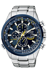 Citizen Blue Angels World Chronograph A-T All Analog Display, World Time, Radio Controlled, Steel Bracelet (AT8020-54L)