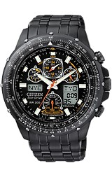 Citizen Skyhawk Watch, Pilot's Watch, AT Atomic Time All Black PVD Stainless Steel Case & Bracelet (JY0005-50E)