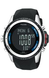 Pulsar Tech Gear Outdoor Sports Chronograph, Altimeter, Barometer Alarm Watch Digital Display, Rubber Dive Strap